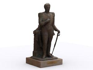 colonial statue pedro alexandrino 3d model