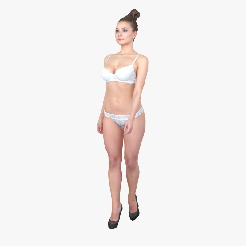 ready-posed woman 3d model