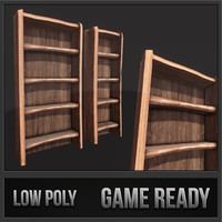 rustic wooden shelf 01 3d model