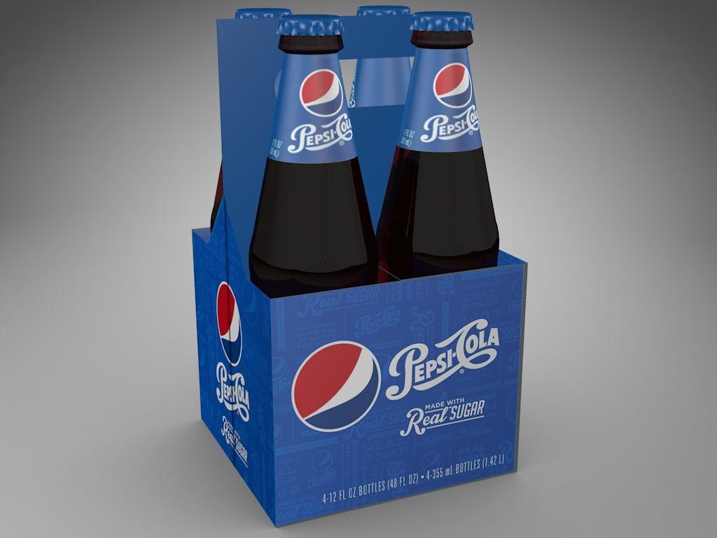 4-pack glass bottles pepsi 3ds