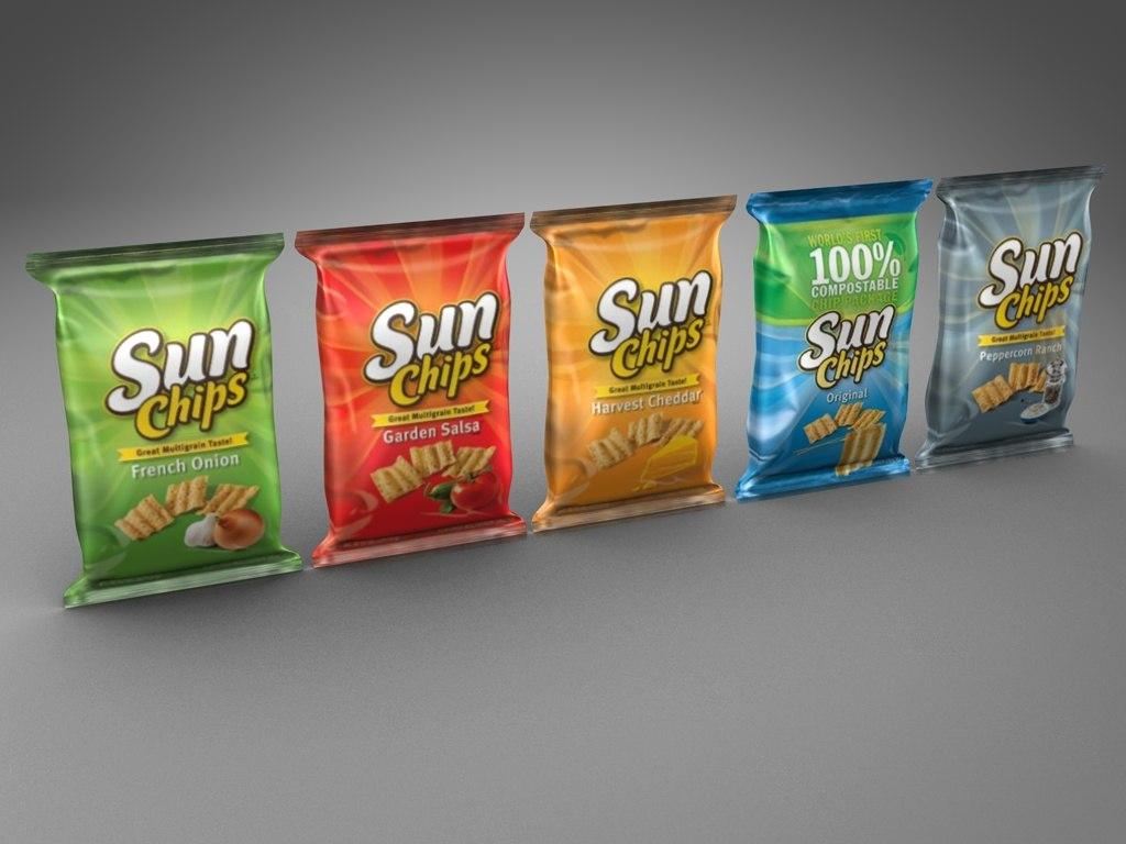 3d model sunchips chips sun
