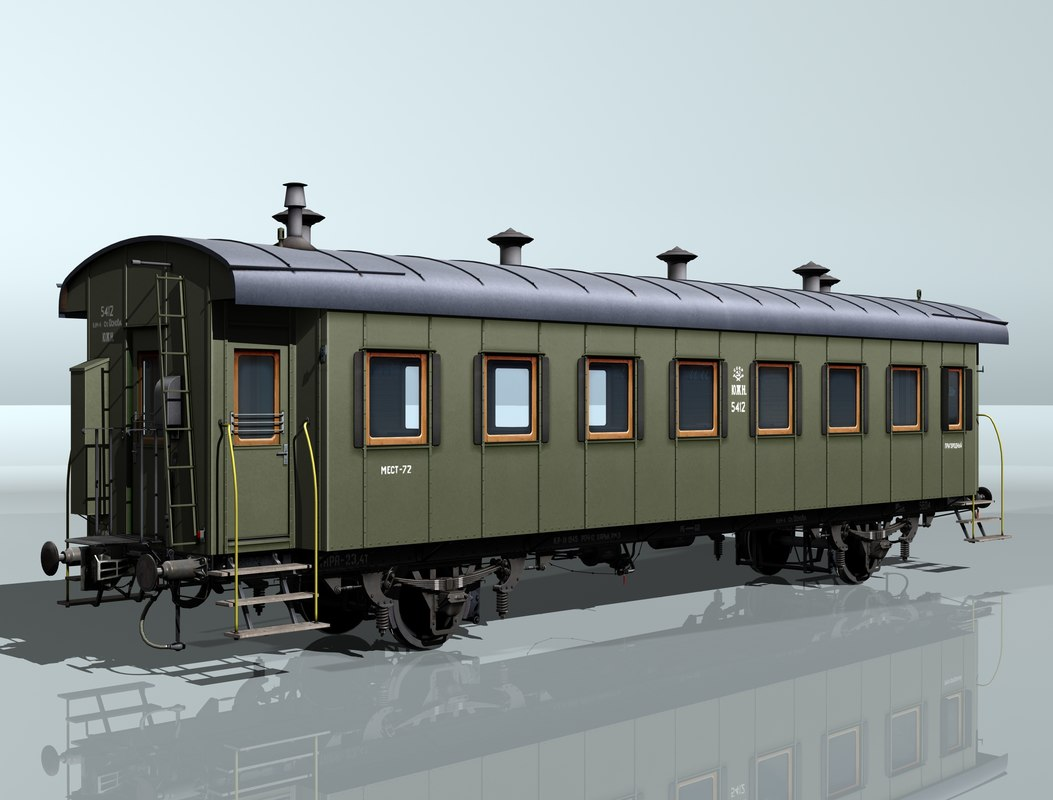 2-axles passenger wagon 5412 3d model