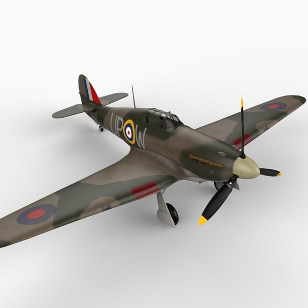 hawker hurricane fighter 3d model