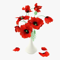 3d red poppies bouquet