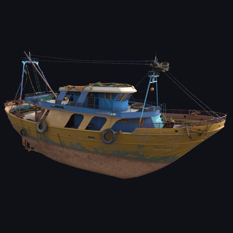 fishing boat 3d max