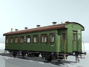 3d model 2-axles passenger wagon 5604
