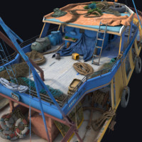 props fishing boat 3d model