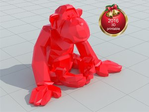 3d model new year monkey print