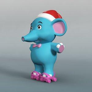 cartoon baby elephant 3d model