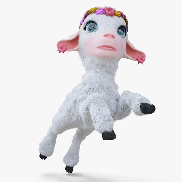cartoon girl lamb rigged 3d model