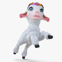 cartoon girl lamb rigged 3d model