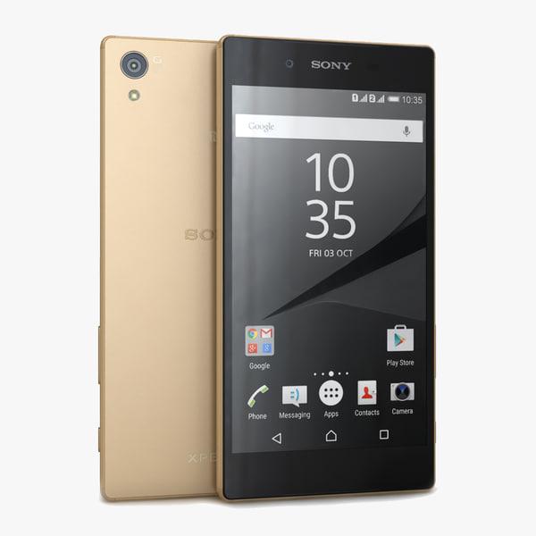 3d model sony xperia z5 gold