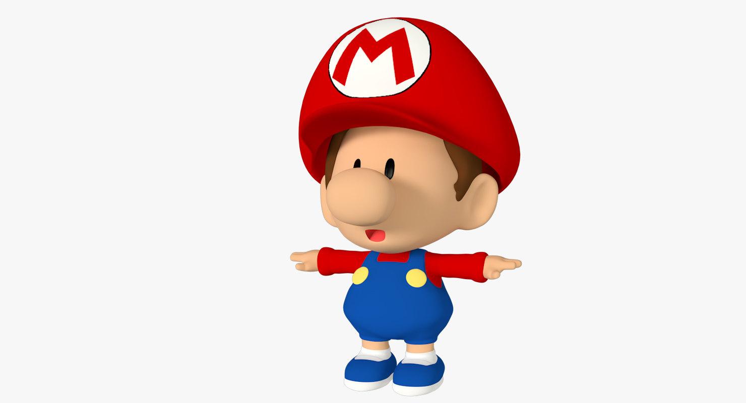 3d 3ds baby mario bros cartoon character
