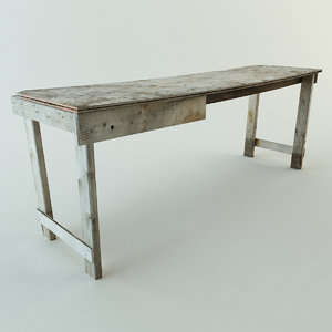 antique workbench table 3ds
