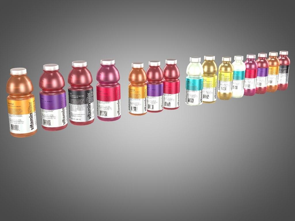 3d bottles vitamin water model
