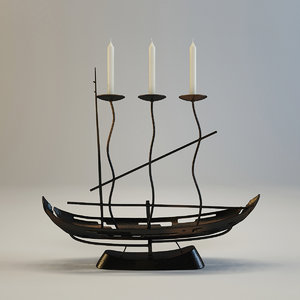 forging candlestik ship 3d model