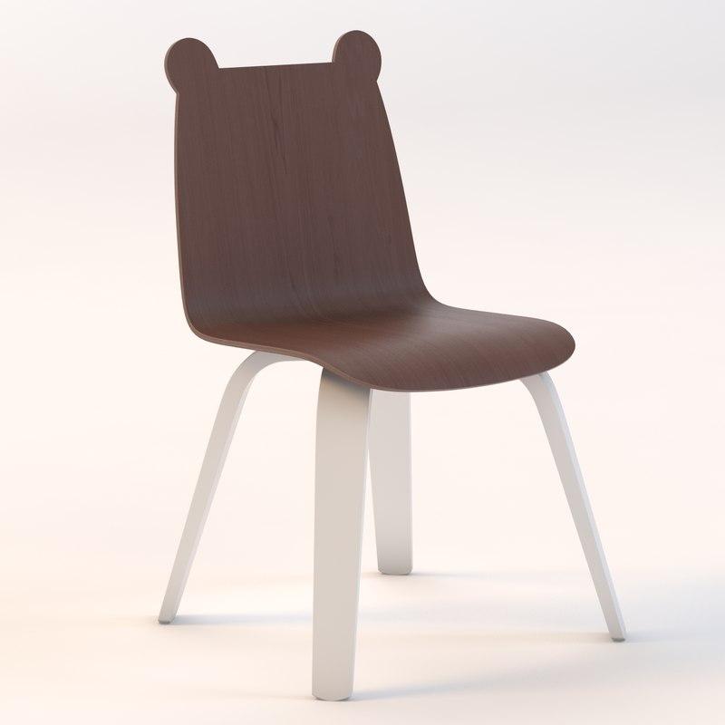 3d bear chair play model