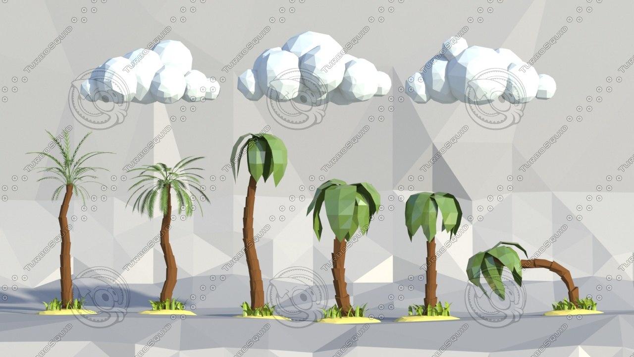 3d palms grass clouds model
