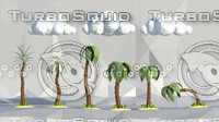 3d palms grass clouds model
