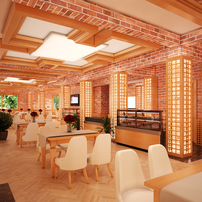 cafe interior v1 3d model