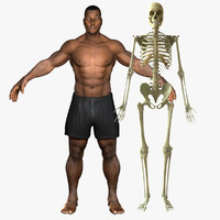 3d african american skeleton rigged model