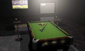 3d model pool table billiard balls