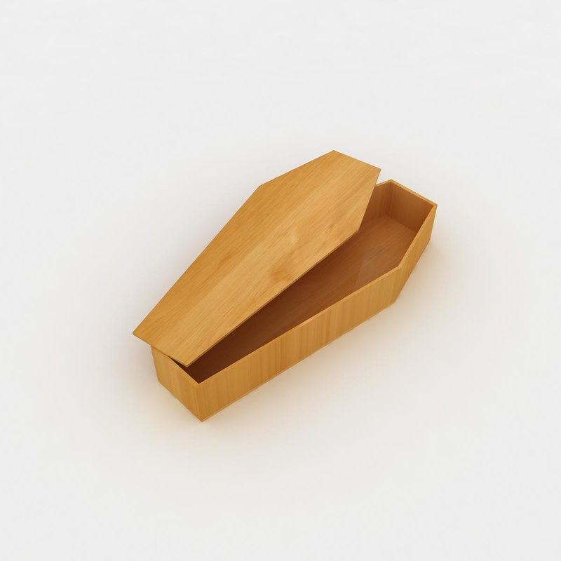 3d model wooden coffin 2