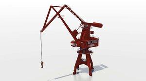 3d model level luffing crane