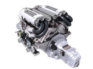 3d model bugatti veyron engine v8