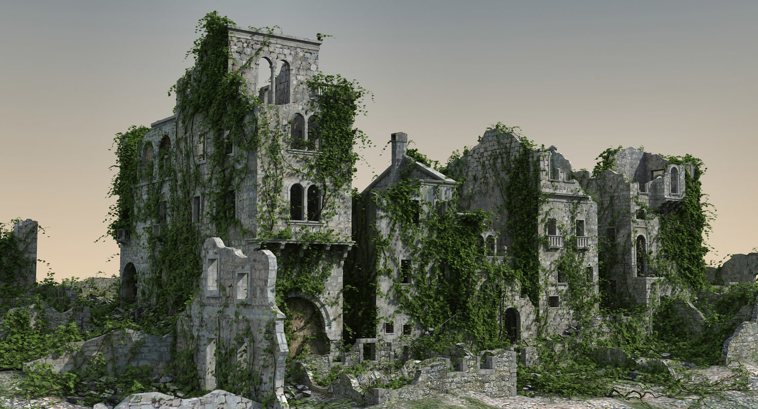 medieval ruined town 3d max