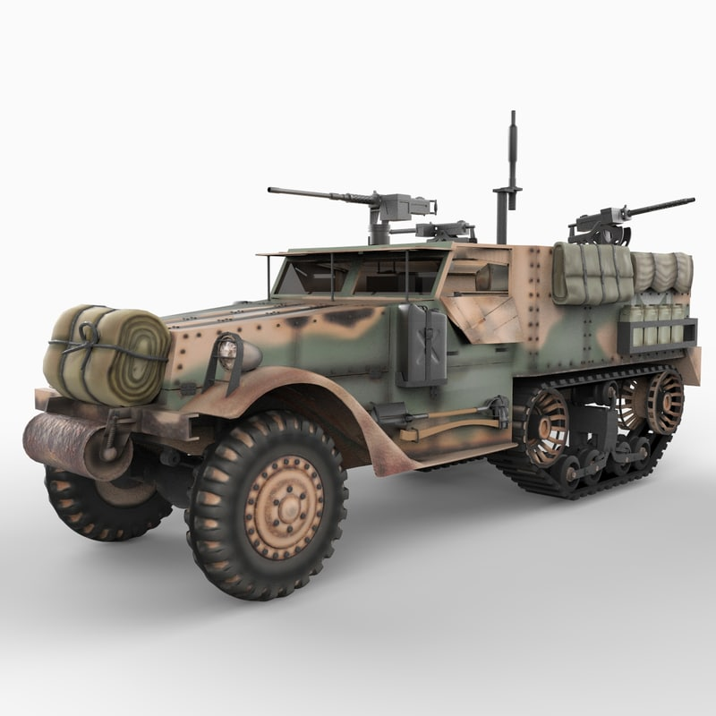 m2a1 half track vehicles 3d model