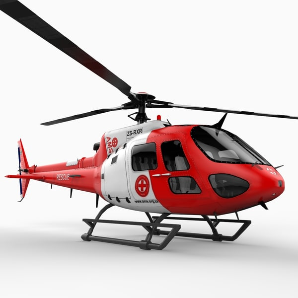 eurocopter as350 helicopter 3d model