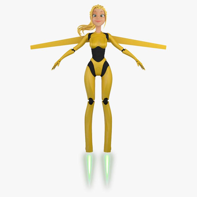 3d cartoon robot girl