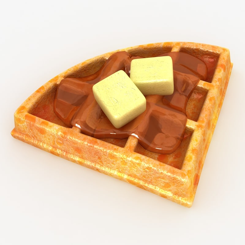 3ds realistic waffle honey butter