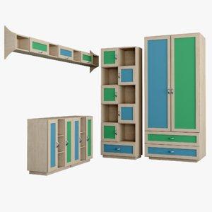 set furniture children s 3d model