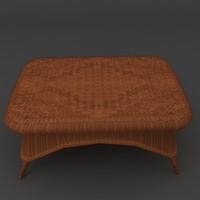 wicker coffee wide table 3d obj