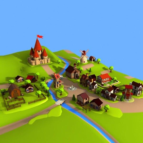 cartoon village toon 3d max