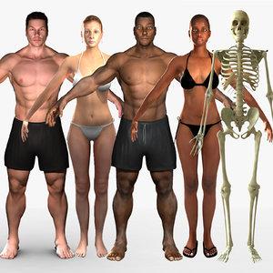 3d model rigged human combo skeleton female