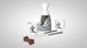 chopsticks sake chop 3d c4d