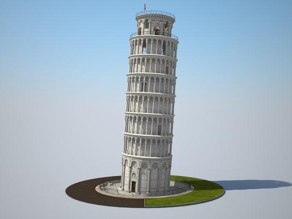 3d model tower leaning pisa