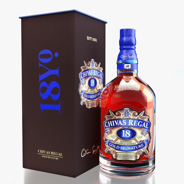 chivas regal 18 packaging 3d max