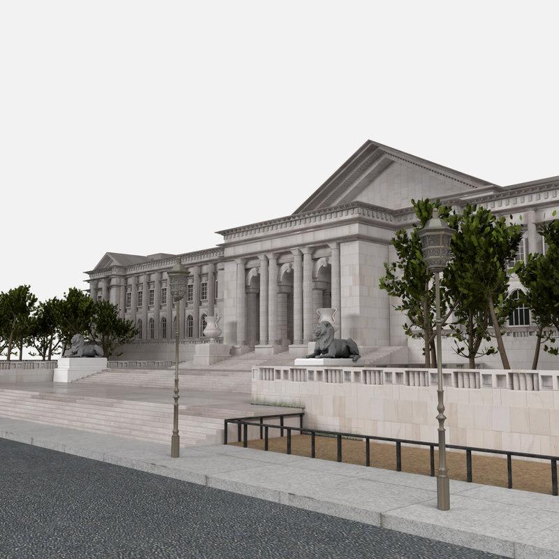 library exterior 3d model