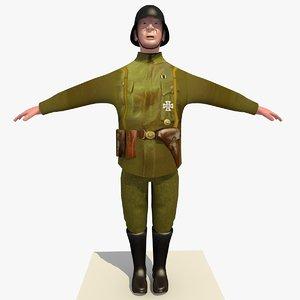 world war german lieutenant 3d x