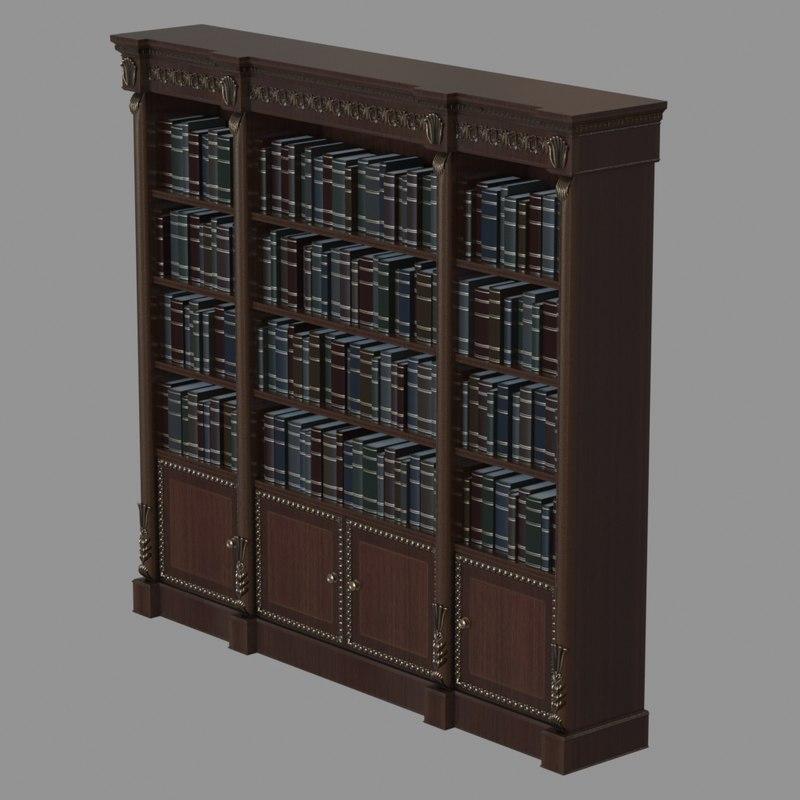 Obj Old Italian Bookshelf Bookcase