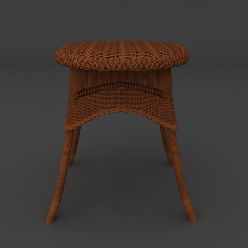 3d model wicker victorian table furniture