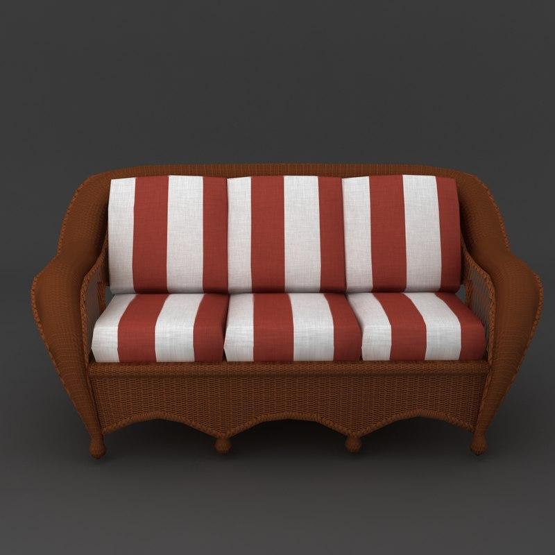 wicker sofa cushions 3d model