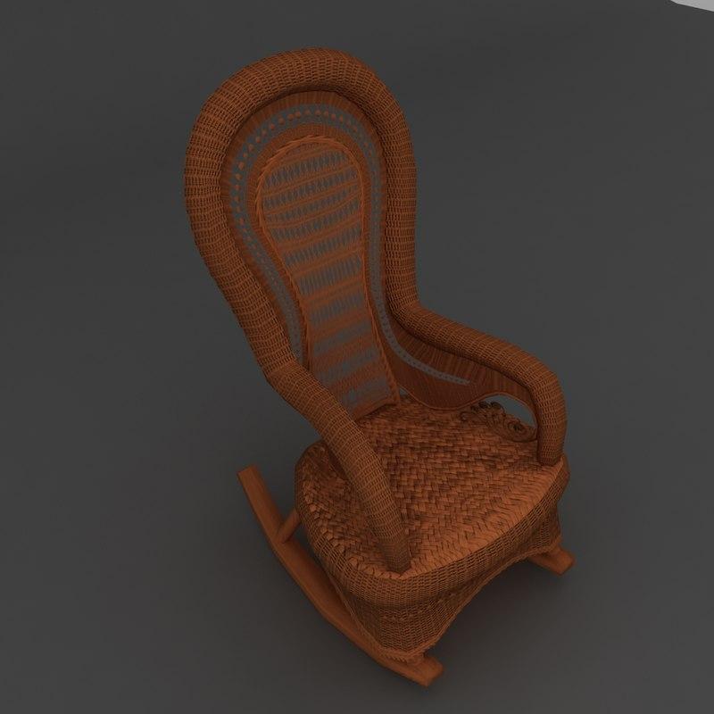 3d model wicker victorian rocker chair