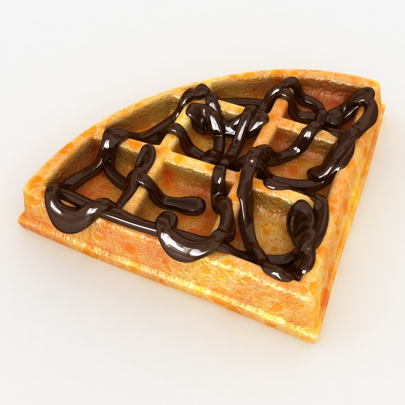 realistic waffle chocolate 02 3d 3ds