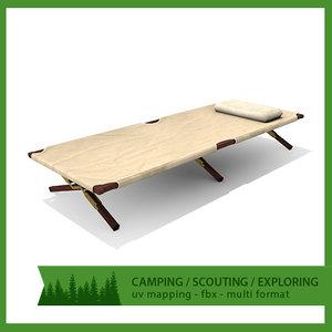 3d obj camping bed