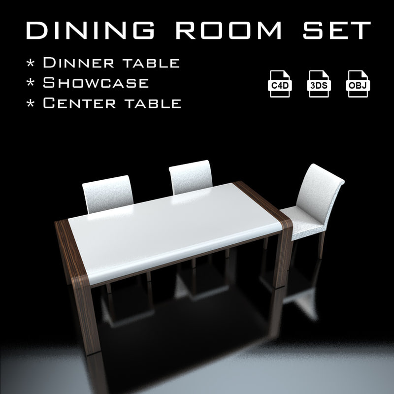3d dining room set model